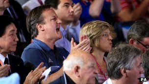 David Cameron cheers on a Team GB boxer