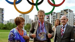 Tessa Jowell, left, with Tony Blair and the mayor of the Olympics village, Sir Charles Allen