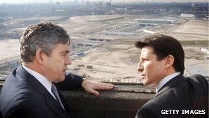 Gordon Brown and Lord Coe look out in 2006 over what has become the Olympic Park