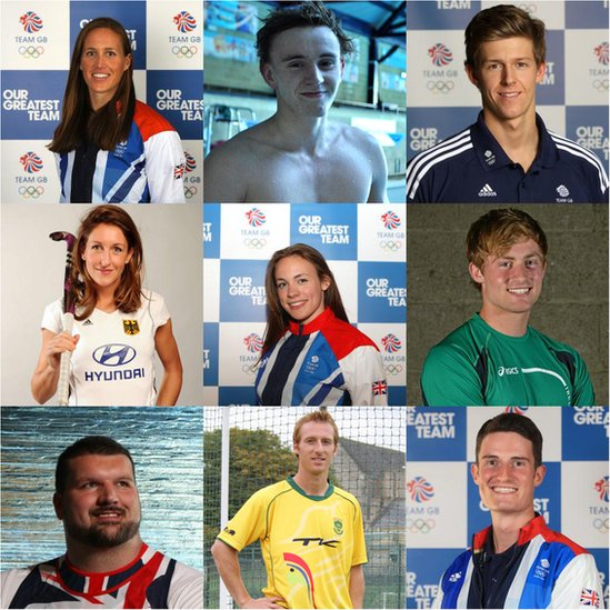 Top L:R Helen Glover, rowing (gold); Morgyn Peters, paralympic swimming; James Disney-May, swimming; Middle L:R Christina Schütze, hockey (Germany); Sophie Williams, fencing; Arthur Lanigan O'Keefe, modern pentathlon (Ireland) Bottom L:R Carl Myerscough, shotput; Ian Haley, hockey (South Africa); Peter Wilson, shooting (gold)