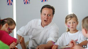 Prime Minister David Cameron meets children at a sports camp during a visit to the Scotstoun Stadium in Glasgow