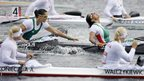 Hungary's Katalin Kovacs and Krisztina Fazekas (centre) win are part of the team to win gold in the women's kayak four 500m