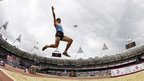 Japan's Keisuke Ushiro competes in the long jump decathlon