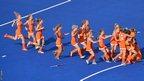 Ellen Hoog and the Netherlands women's hockey side