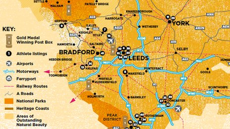 Yorkshire medallists map