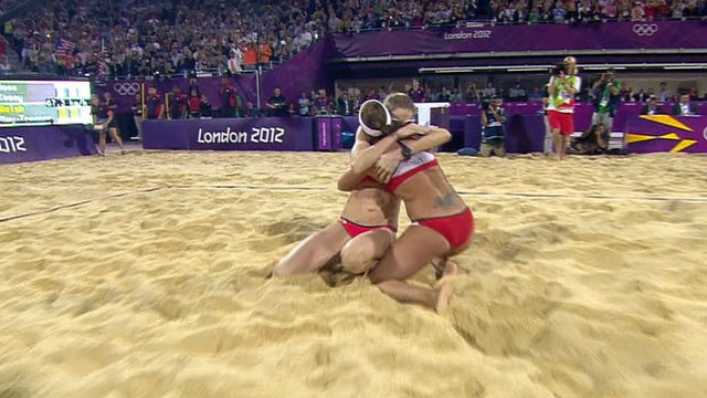 Misty May-Treanor and Kerri Walsh celebrate Olympic beach volleyball title