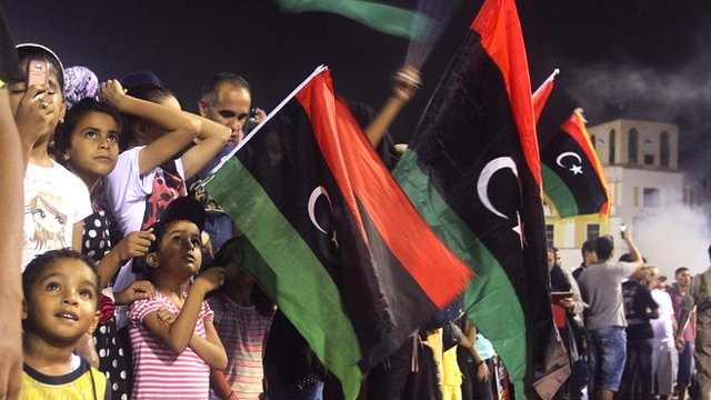 Crowd celebrate in Tripoli in Libya
