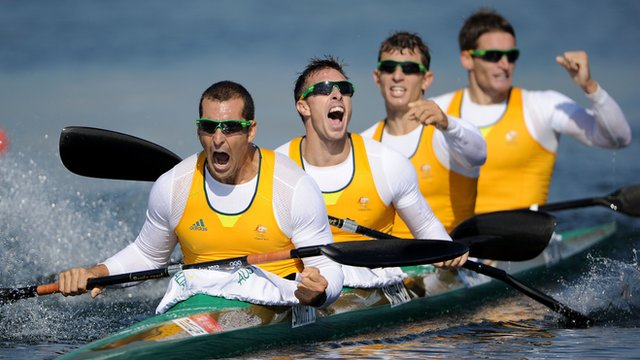 Australia celebrate winning gold in kayak 4 final