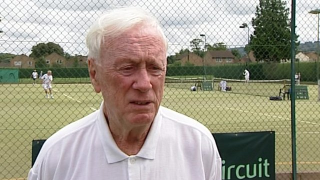 Brian Coyne takes part in the British Veterans' Closed Grass Court Championships