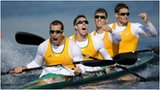 Australia celebrate winning gold in kayak 4 final