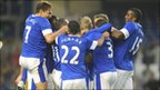 Everton full-back Tony Hibbert is mobbed after scoring against AEK Athens