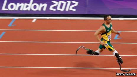 "Oscar Pistorius of South Africa competes in the Men""s 400m Semi Final on Day 9 of the London 2012 Olympic Games"