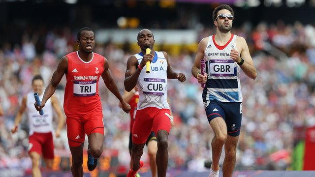 Martin Rooney of GB finishes the 4X400m relay