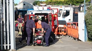 Guernsey firefighters purge gas from a switch room in Guernsey Electricity