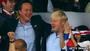 David Cameron and Boris Johnson at the Olympic stadium