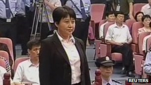 Gu Kailai in court (still image of Chinese CCTV 9 August 2012)
