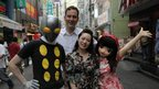David Shrigley and Teresa Chiba with two of Chiba's friend, who are dressed up as comic characters