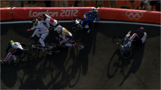 A massive crash in BMX quarter-final.