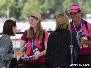 """Team London Ambassadors"" provide city centre maps and help answer any questions tourists may have"