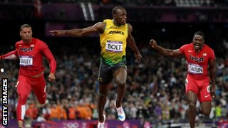 Usain Bolt wins the Olympic 100m