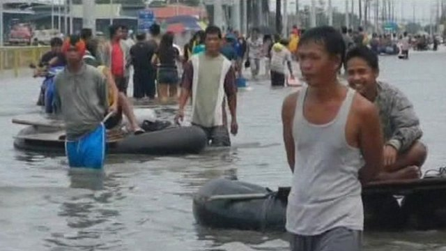 Residents are finally able to escape the flooded capital.