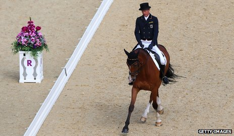 Peter Thomsen competing in Olympics dressage event