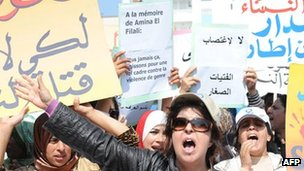 Protesters stage a sit-in outside a local court in Earache, Morocco, where a judge ordered 16-year-old Amina Filali, to marry the man who had raped her, in order to preserve her family&#039;s honour. She later committed suicide (15 March 2012) 