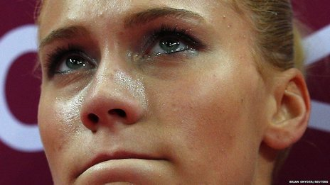 Russia's Ksenia Afanaseva in tears during the women's gymnastics team final