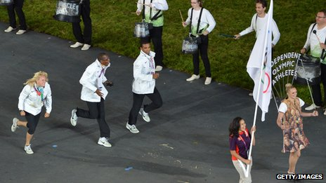 Independent athletes parade at The Olympics opening ceremony