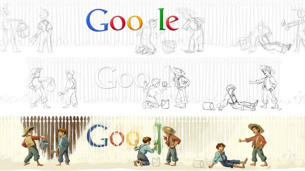 The process to create the Mark Twain doodle. The bottom picture depicts a lengthened version of the end product