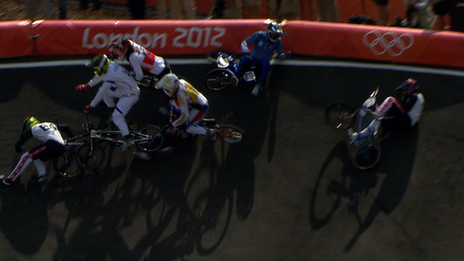 A massive crash in BMX quarter-final.
