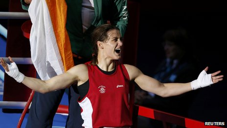 Katie Taylor celebrates