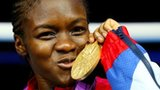 Nicola Adams with her Olympic flyweight gold medal