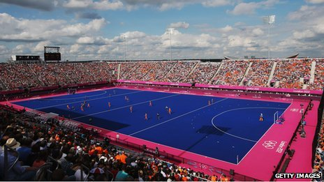 Blue Olympic hockey pitch