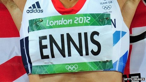 Jessica Ennis's athletics bib