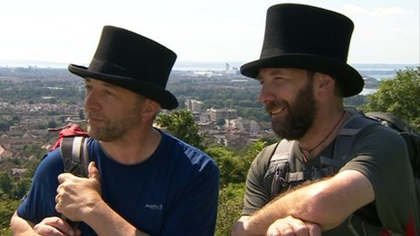 Ian Charles (left) and Gerald  Dickens on Portsdown Hill above Portsmouth a few hours before they arrived in the city