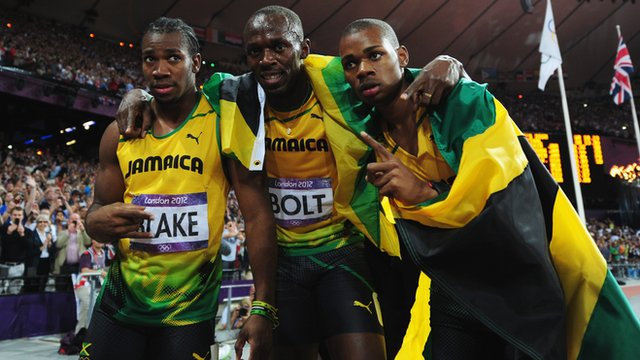 Jamaica's Yohan Blake, Usain Bolt and Warren Weir