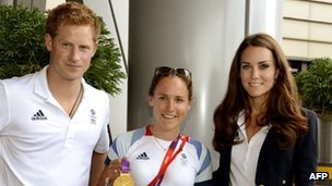 Prince Harry and the Duchess of Cambridge with gold medal-winning rower Sophie Hosking