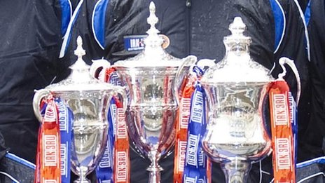 The Scottish First, Second and Third Division trophies