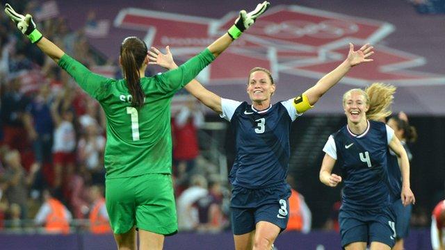 USA celebrate football victory