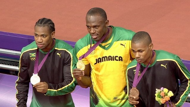 Yohan Blake, Usain Bolt and Warren Weir