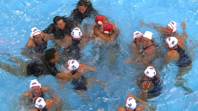 USA celebrate Olympic water polo gold