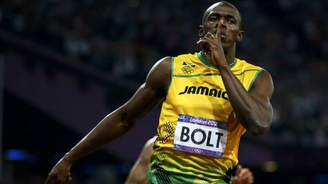 Usain Bolt, finger to lips