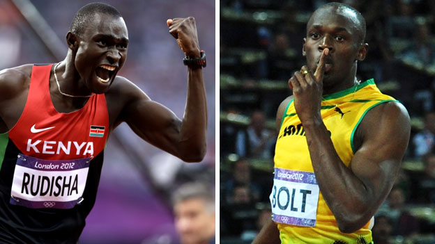 David Rudisha and Usain Bolt celebrate Olympic victory