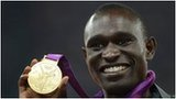 David Rudisha shows off his gold medal