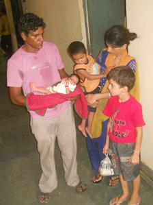 The Kumar family with the recently-born baby boy