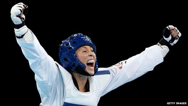Jade Jones celebrates winning Olympic gold