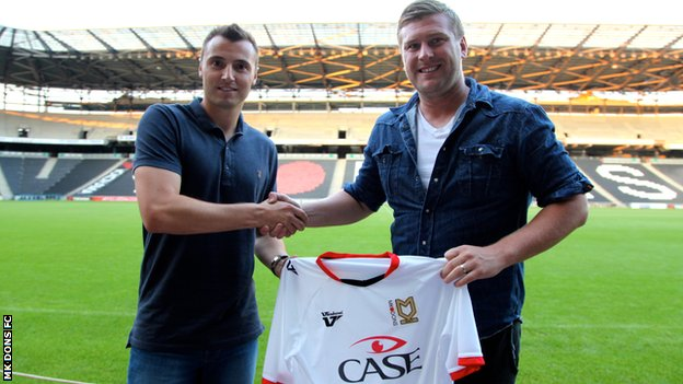 Antony Kay and MK Dons manager Karl Robinson