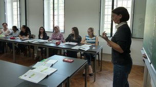 A German language class in Schwabisch Hall