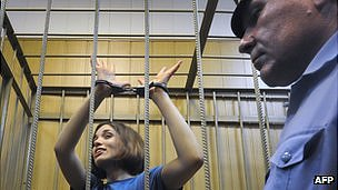 Nadezhda Tolokonnikova, a member of Pussy Riot, in detention